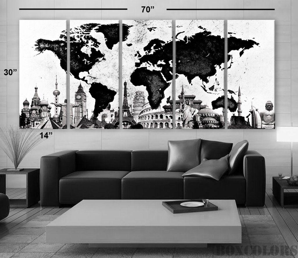 Xlarge 30x70 5panels art canvas print world map watercolor b w xlarge 30x70 5panels art canvas print world map watercolor b w home office decor framed 15 depth gumiabroncs Images