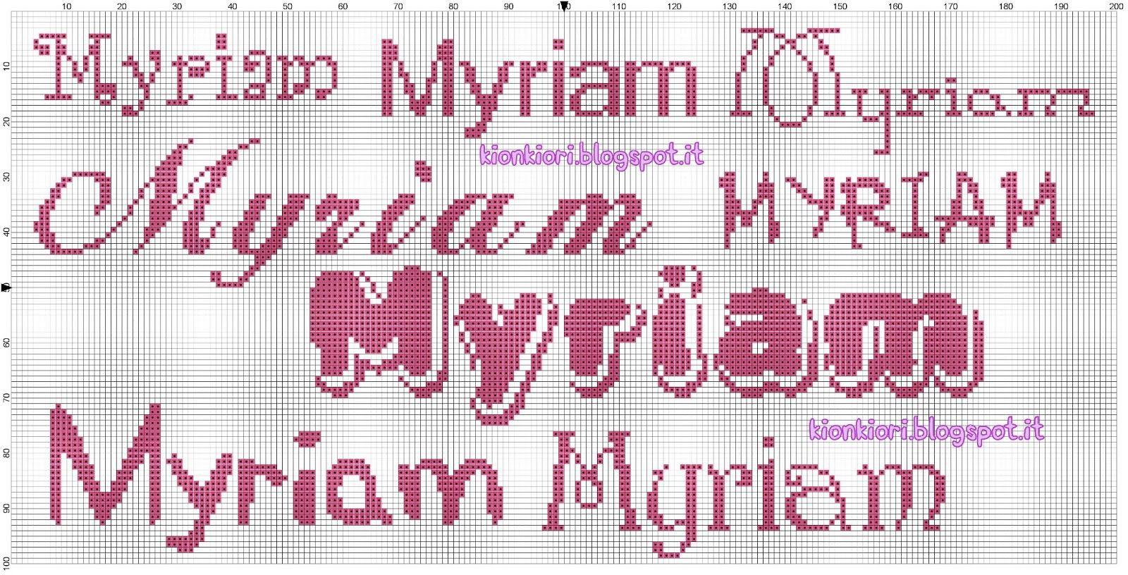 Conosciuto KIONKIORI Punto Croce: Myriam, Viola, Mattia, Ginevra | Punto  GW94