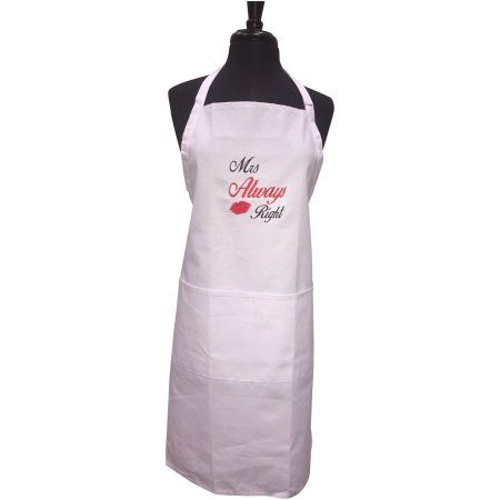 Unik Occasions Mrs Always Right Embroidered Apron White