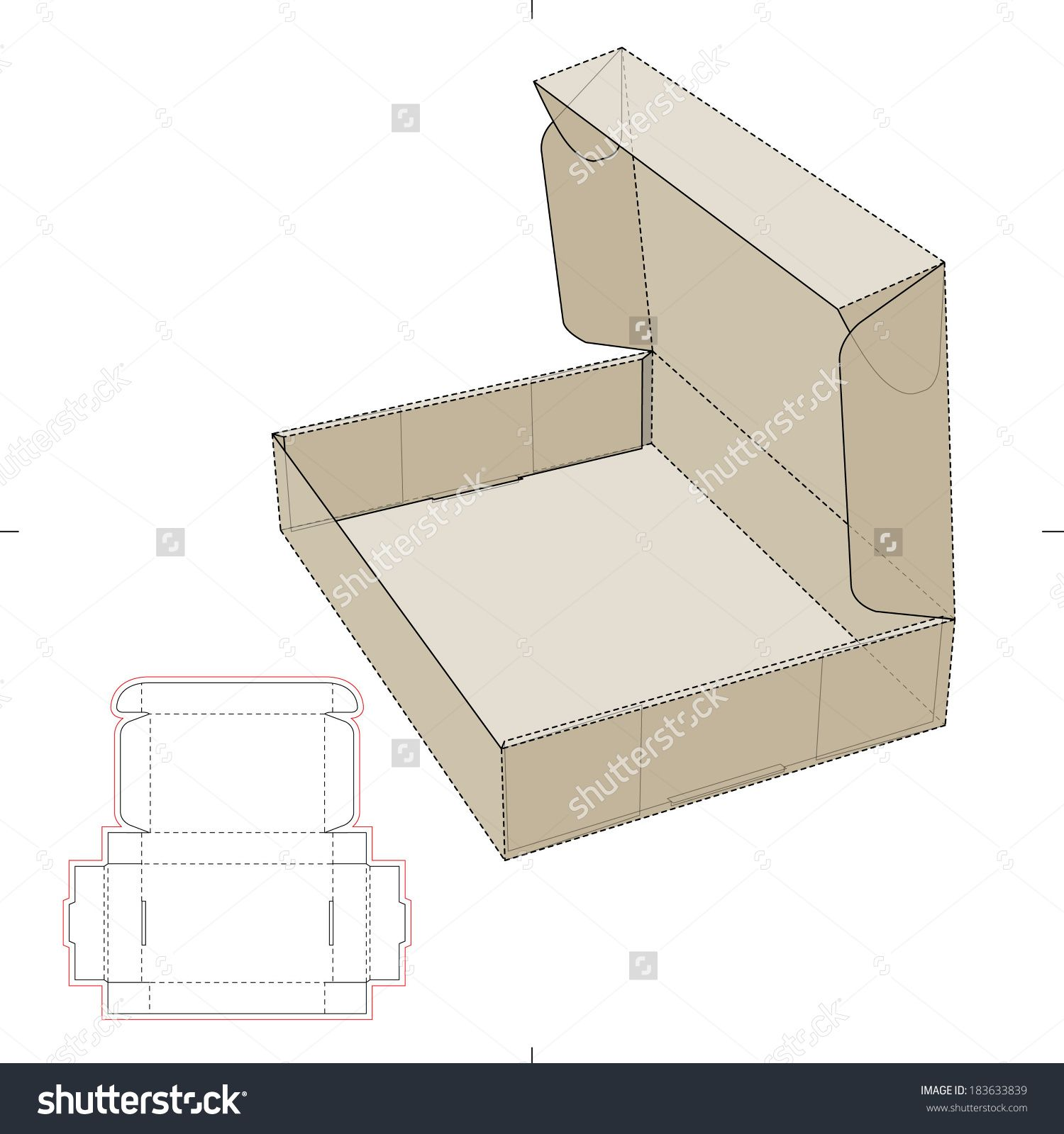 cardboard flat box with die cut pattern stock vector illustration 183633839 shutterstock. Black Bedroom Furniture Sets. Home Design Ideas
