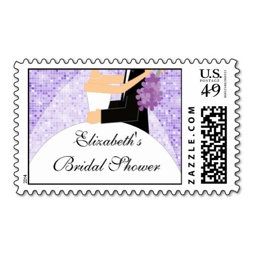 purple sparkly bride bridal shower postage