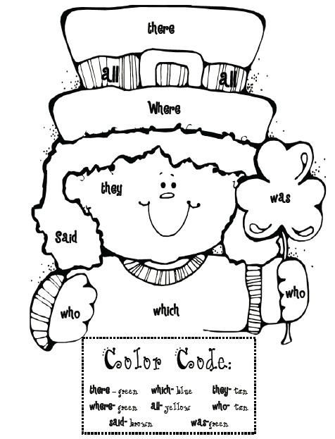 Sight Word Leprechaun Coloring Page St Patrick Day Activities