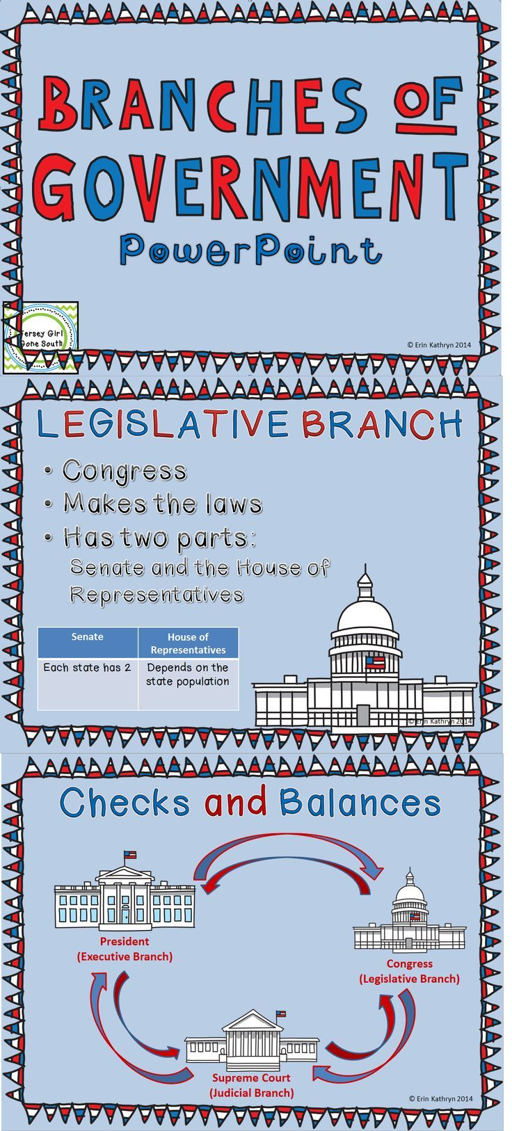 This bundle includes a PowerPoint that outlines the three branches of government: executive, legislative, and judicial. The PowerPoint also includes checks and balances and the separation of power. Any slide in the PowerPoint can also be used as a classro