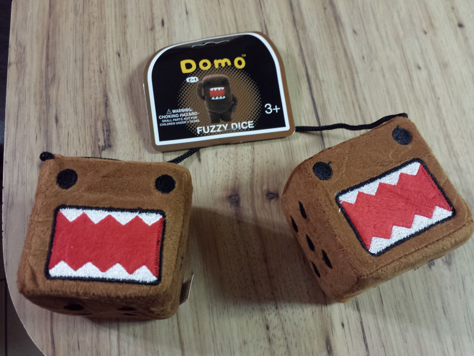Or Key Cover Keychain DOMO Plush Road Rage Angry Face Fuzzy Dice FREE Lanyard
