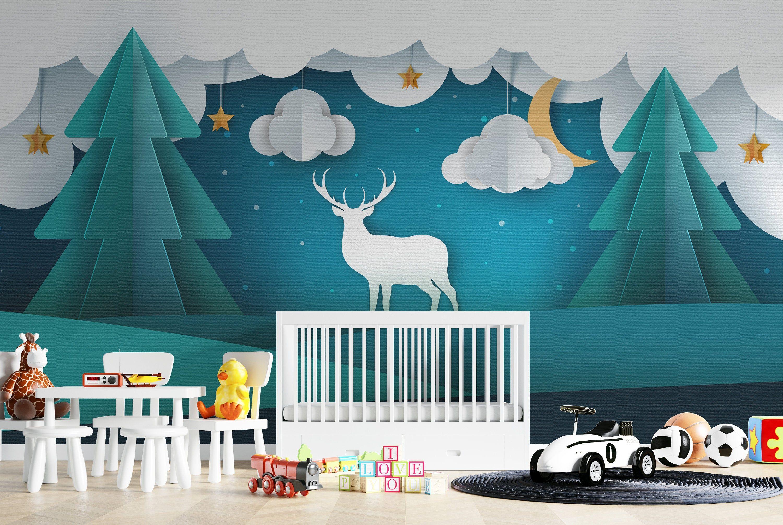 Deer wall art removable, kids nursery wallpaper, wall