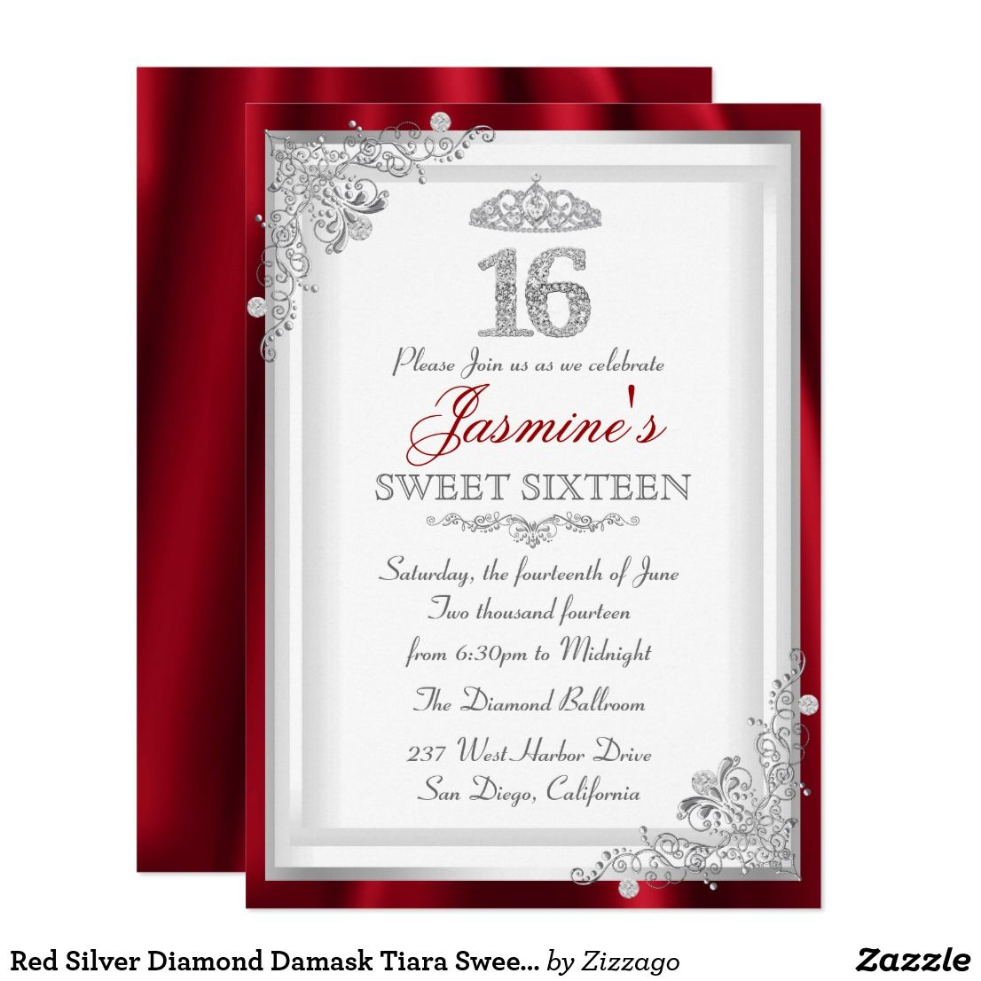 Red Silver Diamond Damask Tiara Sweet 16 Invite | Pinterest | Sweet ...