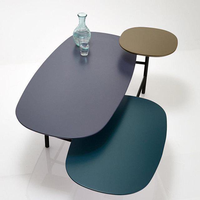 Table Basse 3 Plateaux Laque Brillant Pietement Tube D Acier
