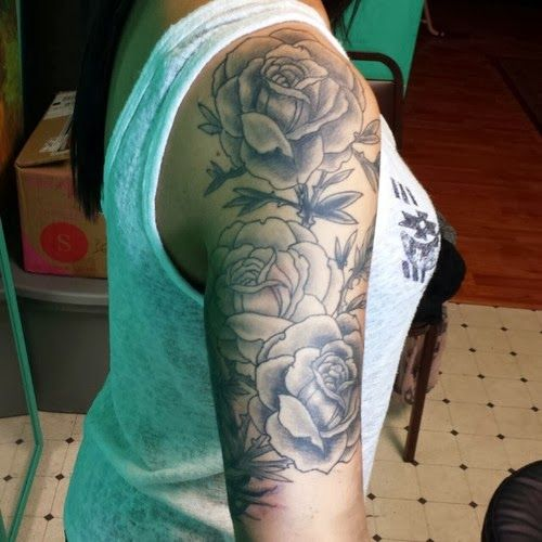 Tattoo Leg Man Rose Flower Black And White: Black And White Tattoo Sleeve For Women
