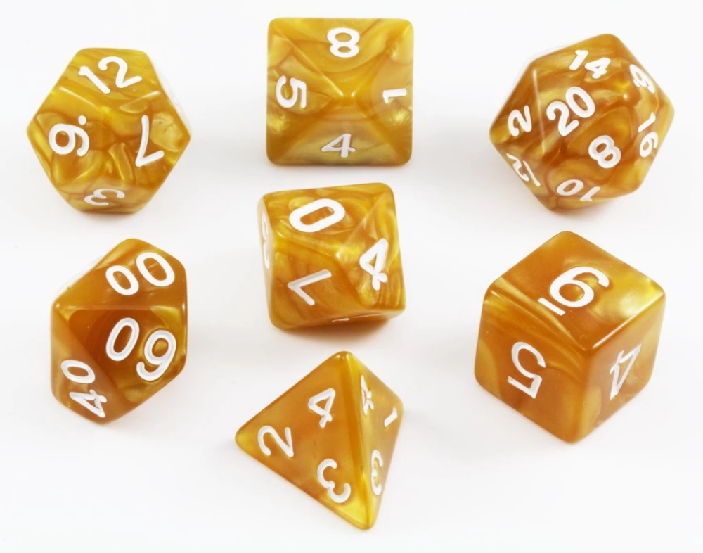 Pearl Dice (Gold, White Numbers) RPG Role Playing Game