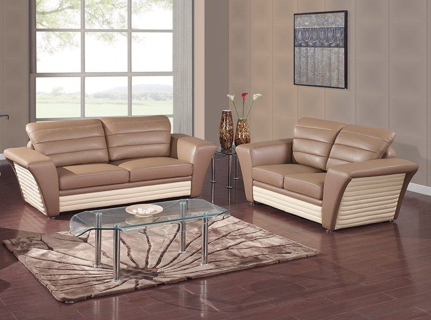 1876 2 PC Chocolate Beige Ultra Bonded Sofa Set And