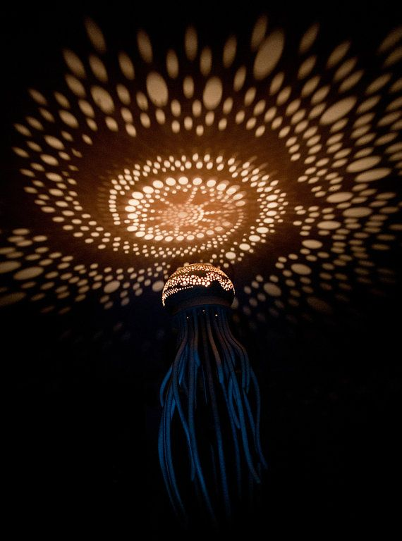 Medusa Lamp Natural Wood Jellyfish Light Projection Design Jellyfish Light Jellyfish Design Jellyfish Lamp