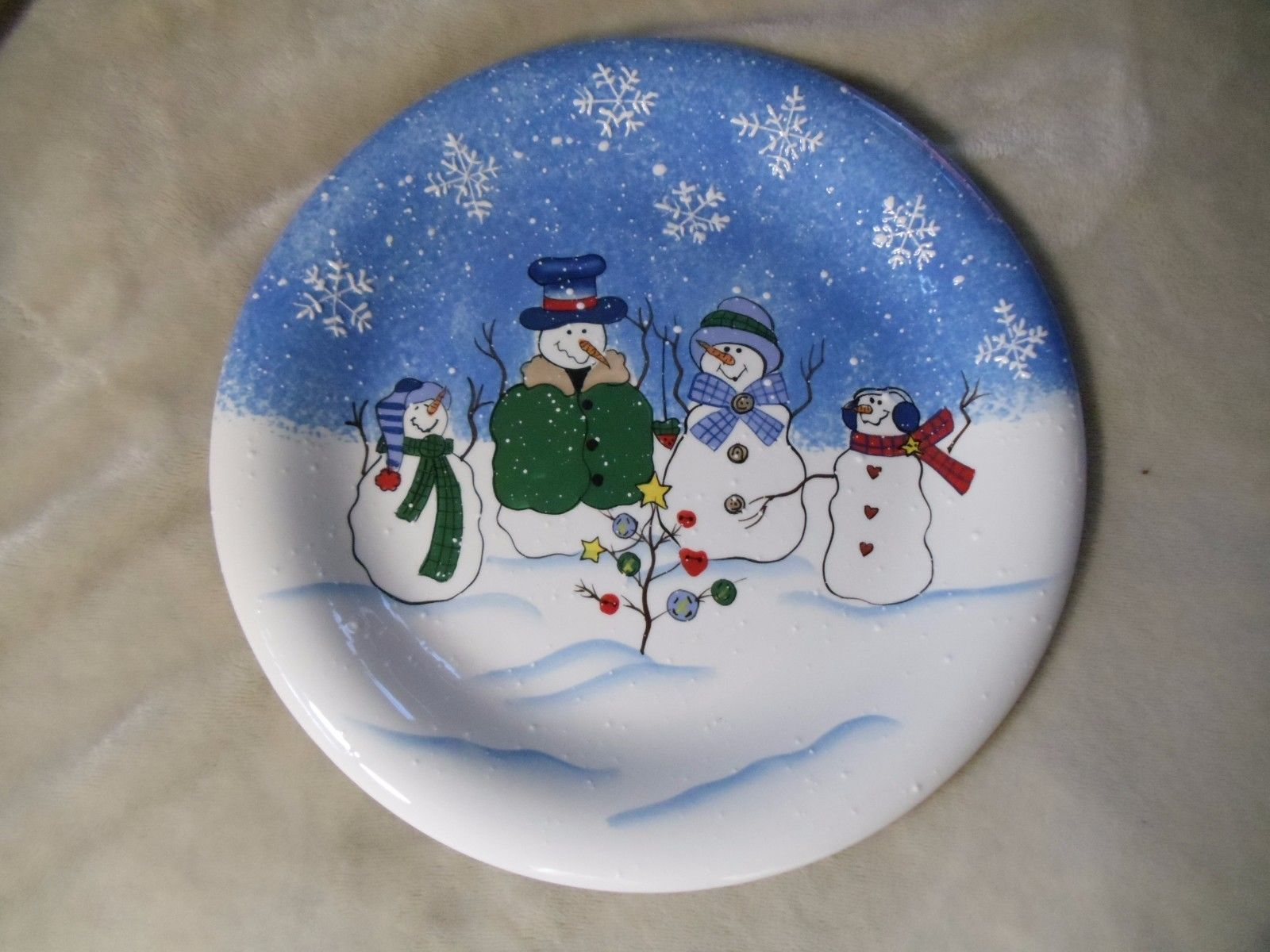 Christmas Dinner Plate | eBay & EUC St. Nicholas Square Button Up Snowmen Christmas Dinner Plate ...