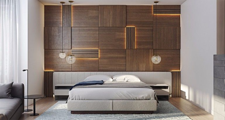 Striking Wood Panels In Modern Master Bedroom Design