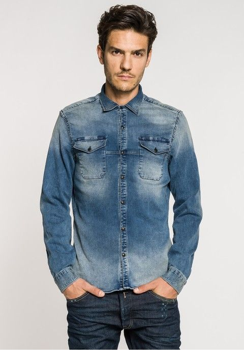 5f94cbe9892 Indigo denim-shirt look sweatshirt with two front pockets with flap. Stone  wash with vintage effect on wear areas and final colored pigment. - Replay