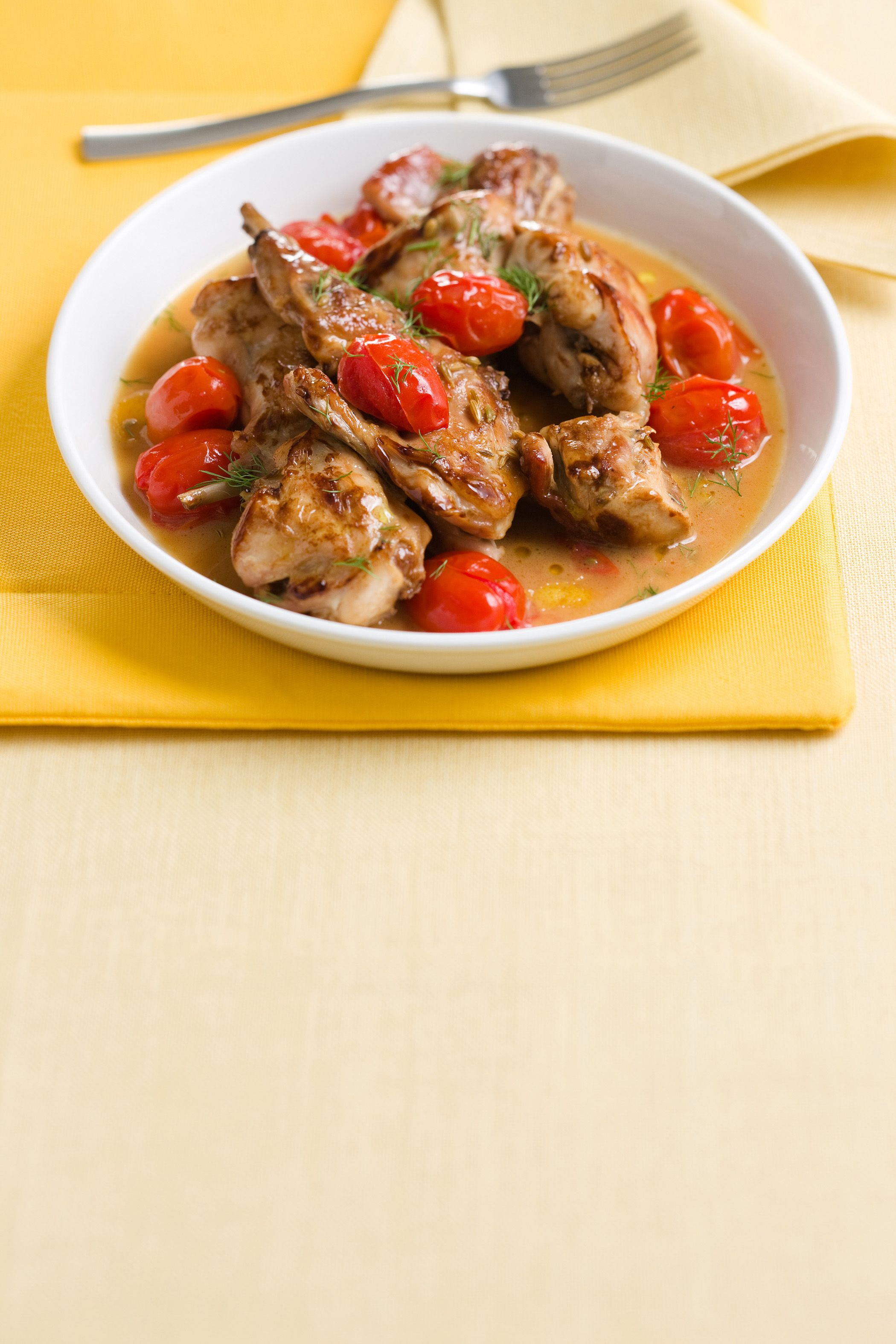 Photo of The recipe for stewed rabbit with cherry tomatoes and fennel …