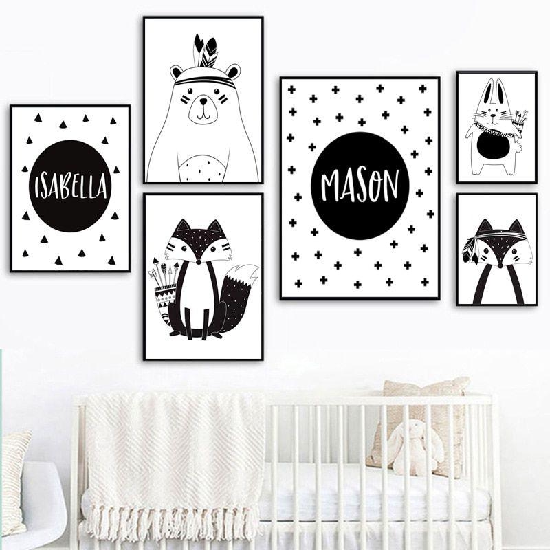 Black White Cartoon Bear Rabbit Baby Nursery Wall Art Canvas Poster Custom Name Print Paint Baby Nursery Wall Art Personalized Wall Art Black And White Cartoon