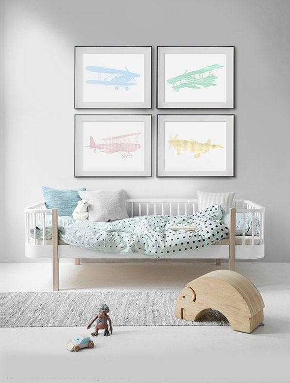 Nursery - Pastel airplane 04 by WhiteVista on Etsy