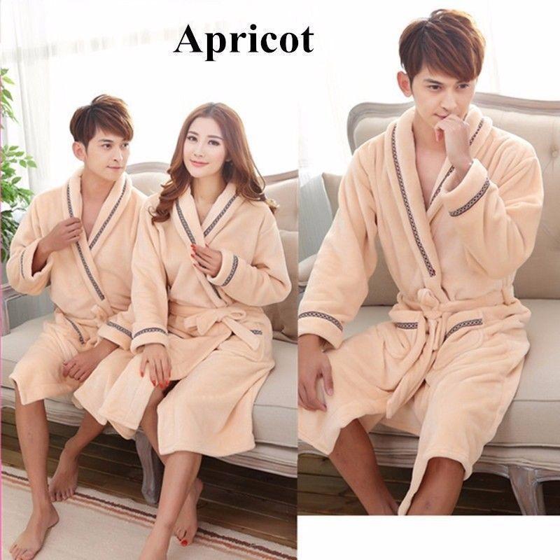 e03f40c977 Mens Womens Fluffy Bath Robe Soft Flannel Sleepwear Couple Bathrobe Pajama  Gown  fashion  clothing  shoes  accessories  mensclothing  sleepwearrobes  (ebay ...