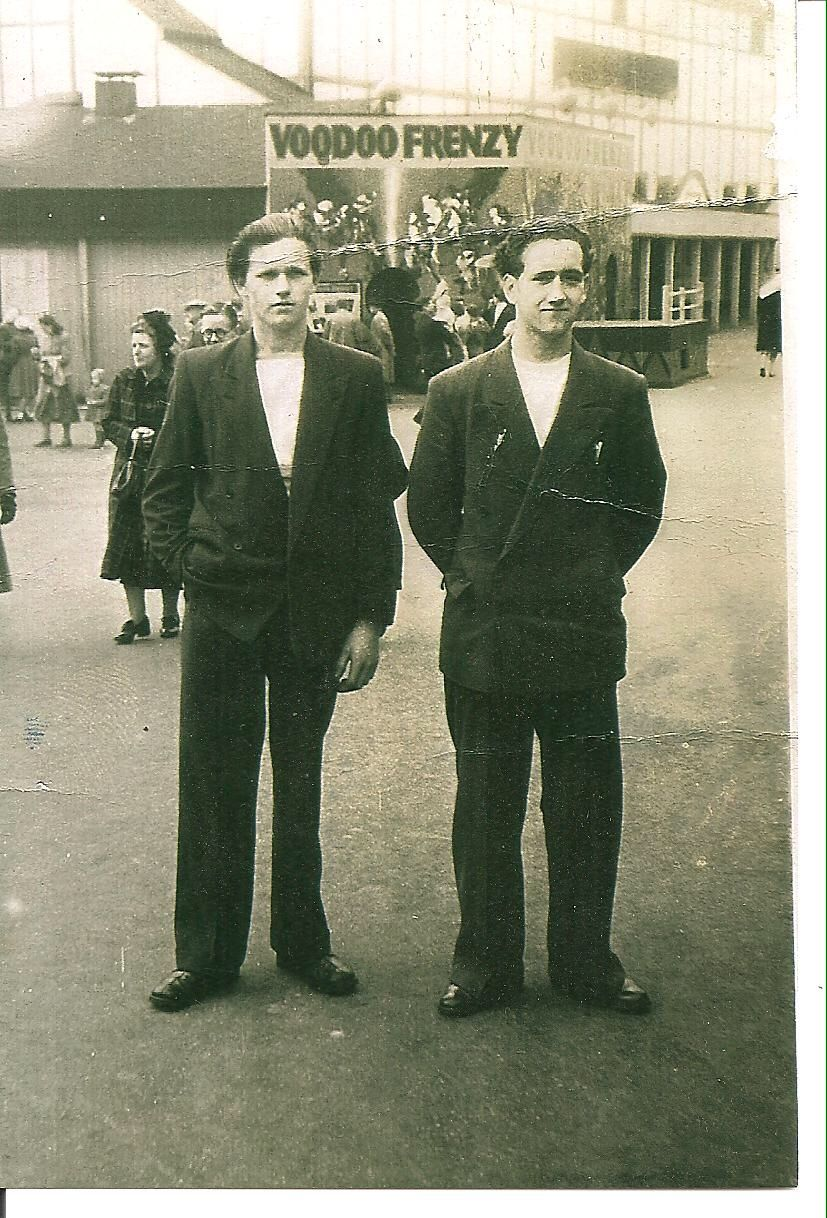 My Dad Ronnie Mickleburgh (left) with his friend Pif Cavanagh in demob suits, at Belle Vue.....circa 1950