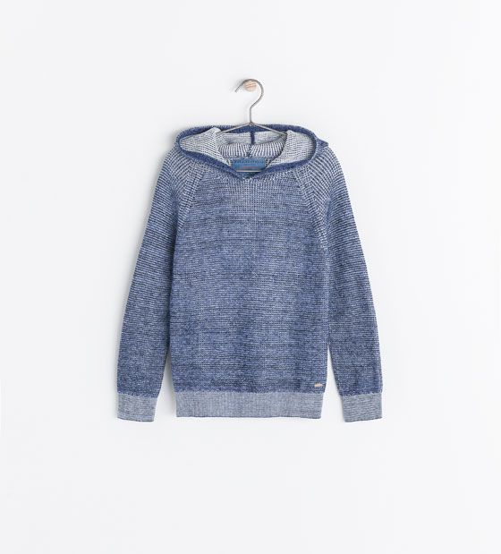 Image 1 of TWO-TONE TEXTURED HOODED SWEATER from Zara