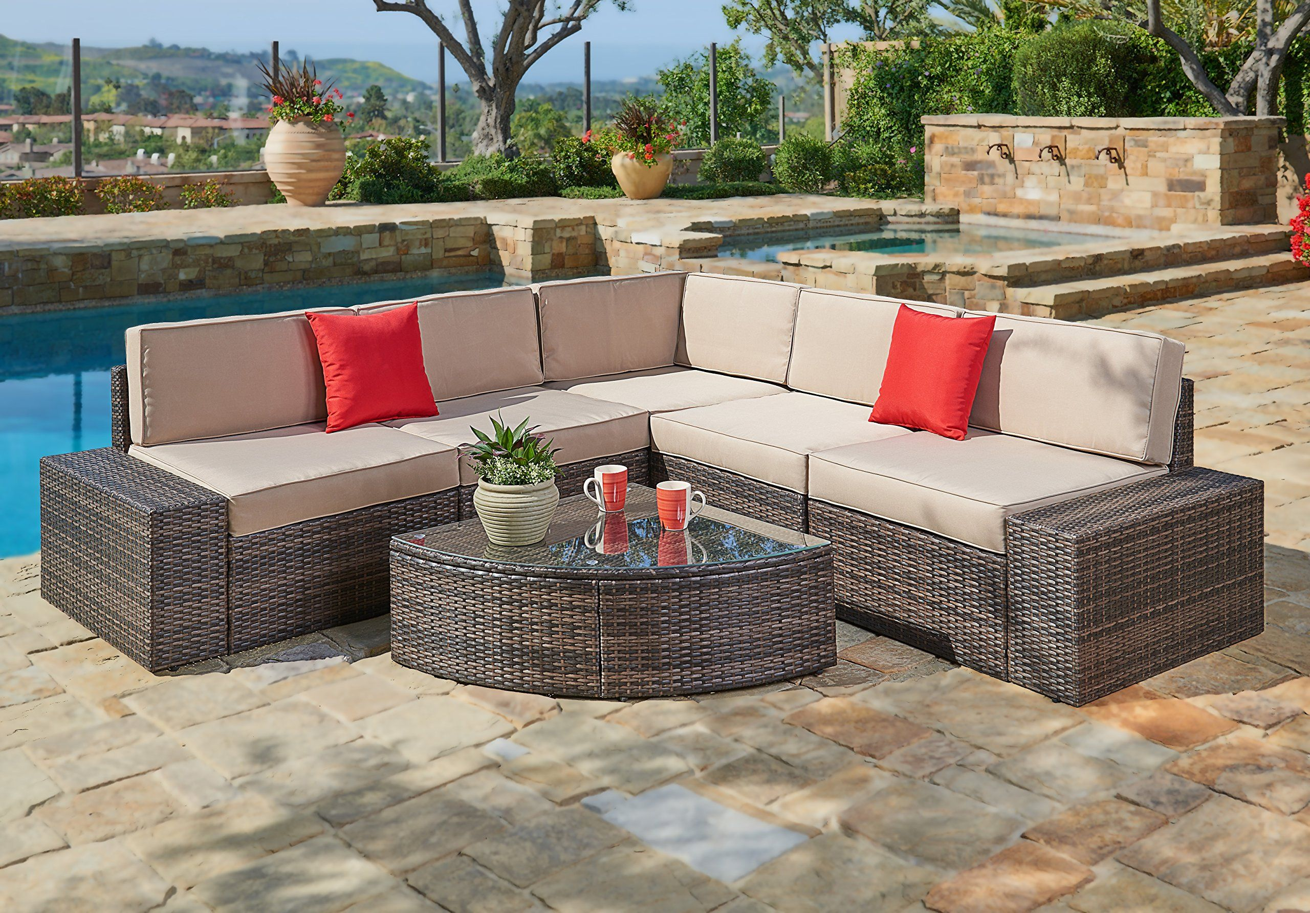 Suncrown Outdoor Furniture Sectional Sofa & Wedge Table 6 Piece