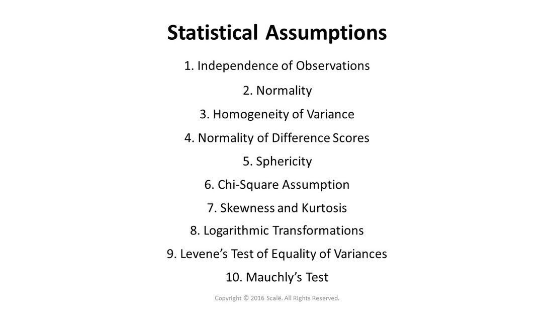 There Are Several Different Statistical Assumptions Independence