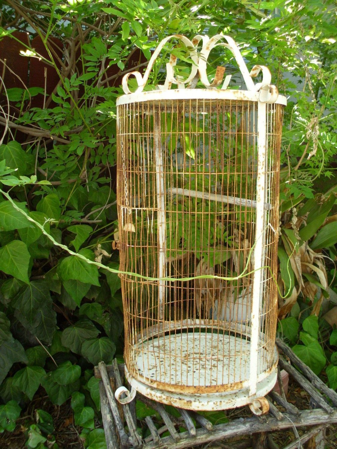Large Vintage Wrought Iron Birdcage White Rusty Indoor