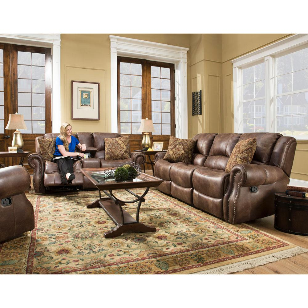 Furniture Living Room Leather Sets Brown