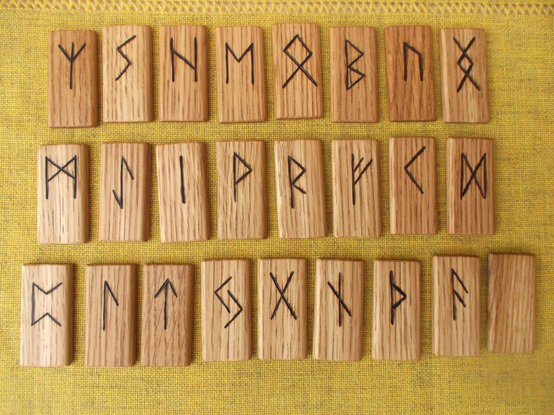 Rune Set Rune Set On Oak Wood Handmade Runes Runes Viking Etsy Runes Viking Runes Norse Symbols