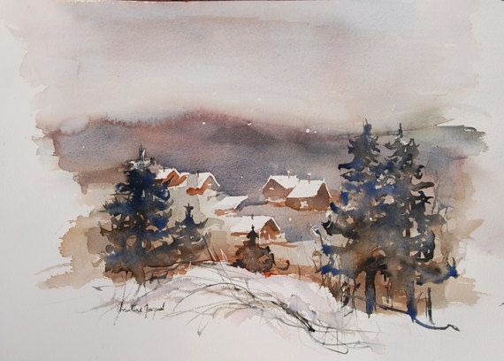 Original Watercolor Of A Village In The Mountain In France