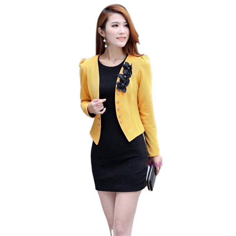 패션 사무실 여성 레이디 꽃 짧은 코트 재킷 슬림 정장 OL 재킷