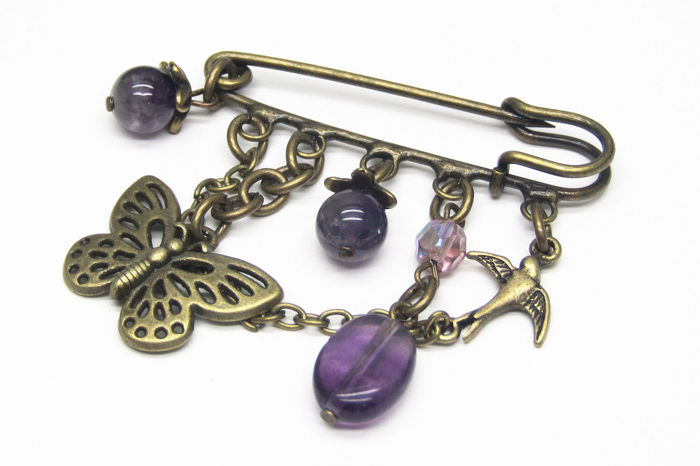 Butterfly brooch pin bronze jewel Bijou broche épingle couleur bronze Papillon