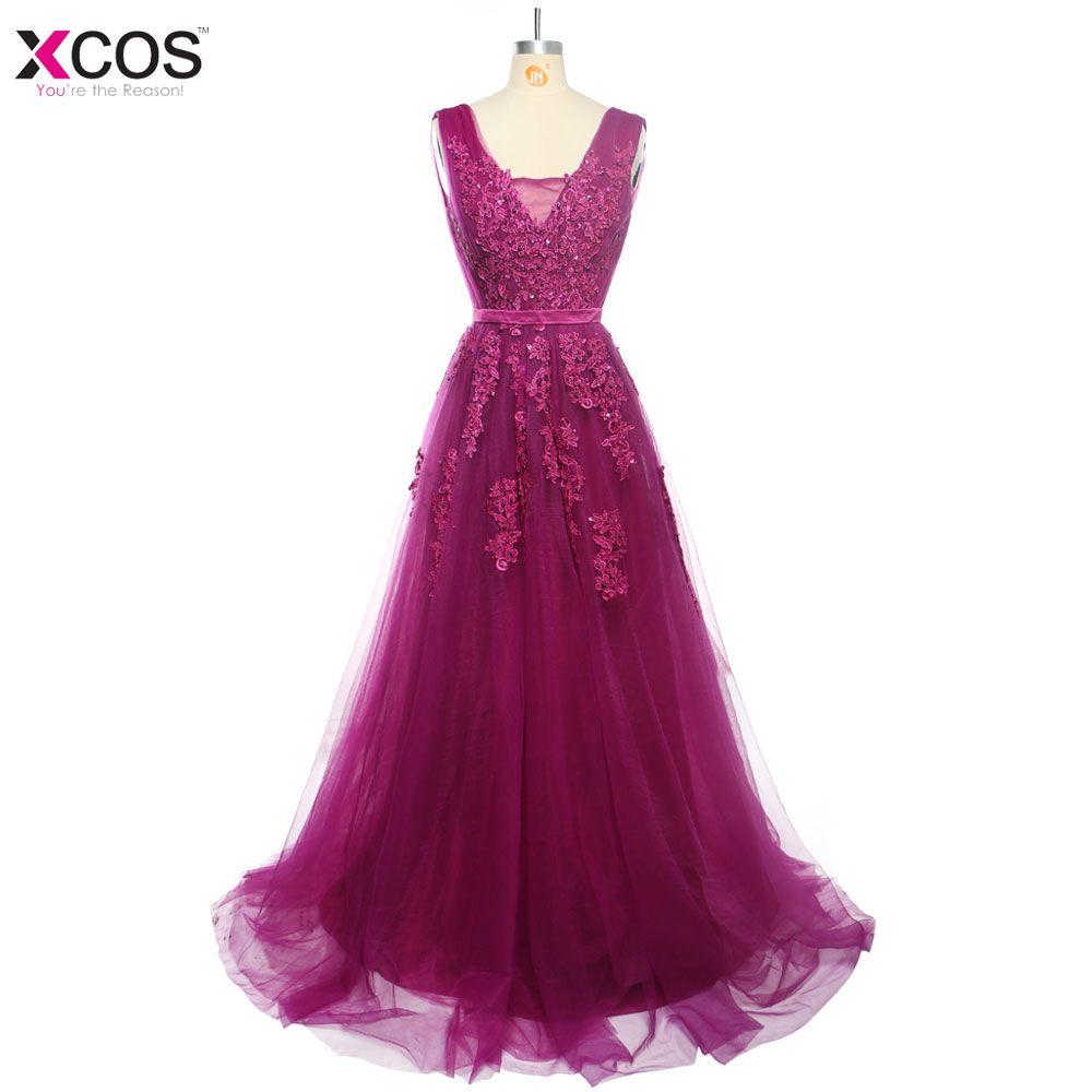 Click to buy ucuc real photos dark purple evening dresses robe de