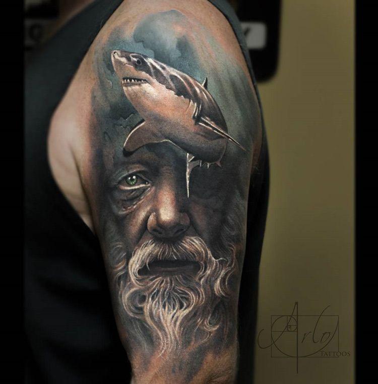 poseidon shark sleeve pinterest shark tattoo and poseidon tattoo. Black Bedroom Furniture Sets. Home Design Ideas
