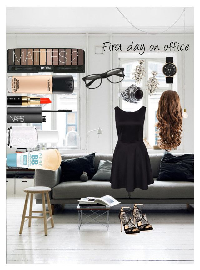 """""""~First Day On Office~"""" by rosalieex ❤ liked on Polyvore featuring Jimmy Choo, DANNIJO, Marc by Marc Jacobs, Bobbi Brown Cosmetics, NARS Cosmetics, MAC Cosmetics, Essie and Maybelline"""