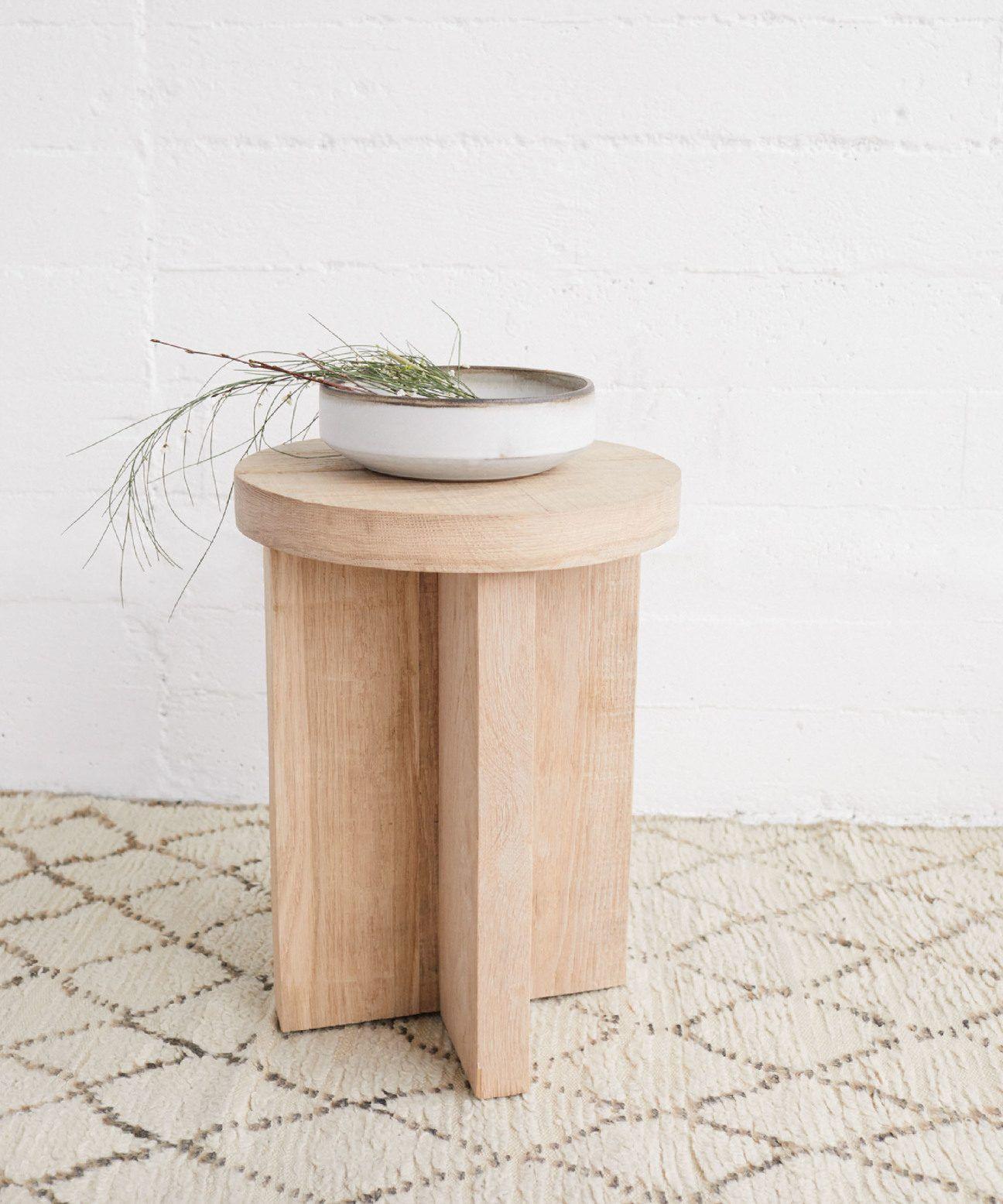 Oak Side Table Natural Rustic Furniture Furniture White Oak Wood