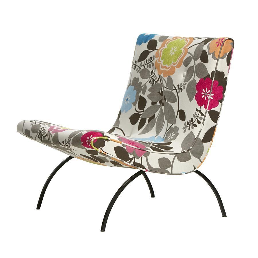 Indoor outdoor lounge scoop chair w iron base mid