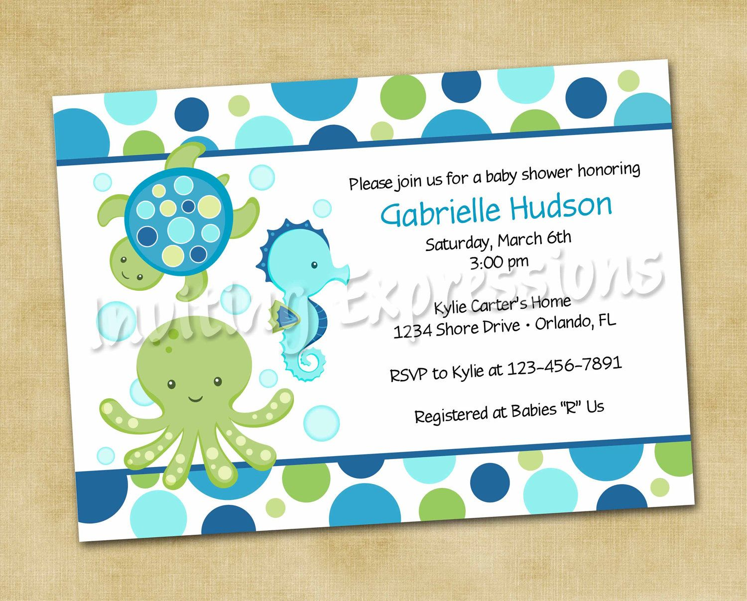 Sea Blue Baby Shower Invitations - Ocean Invitations - Personalized ...
