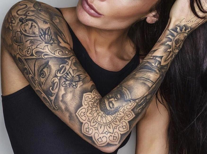 Half Sleeve Tattoo Ideas With Meaning In 2020 Buddha Tattoo Sleeve Sleeve Tattoos For Women Tattoo Styles