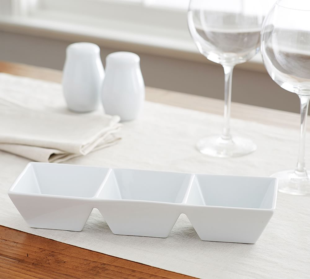 Great White Square Divided Condiment Tray | Pottery Barn