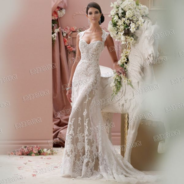 2015 Off White Sexy Backless Lace Mermaid Wedding Dress Train Romantic Short Front Long Back