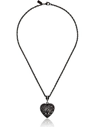 d97f2b5ca 1928 Jewelry Black-Tone Filigree Heart with Swarovski Crystal Accent  Pendant Necklace ❤ 1928 Jewelry