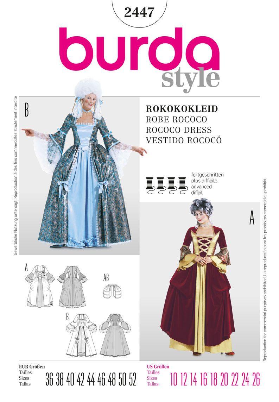 BD2447 Misses\' Rococo Dress Costume | patterns | Pinterest | Kostüm