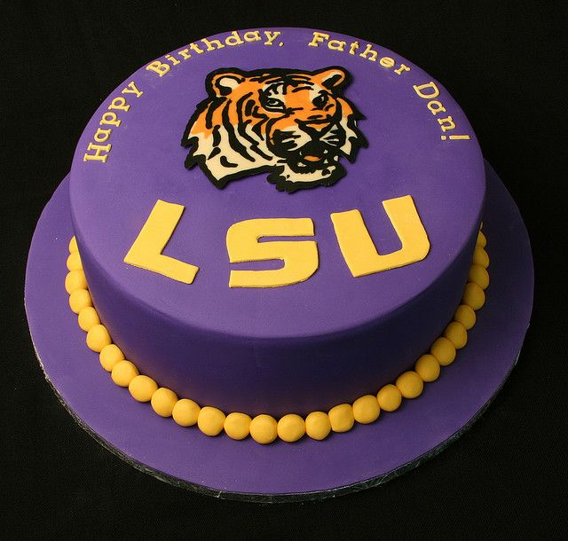 Cool Father Dans Lsu Cake Tiger Cake Grooms Cake Cake Personalised Birthday Cards Veneteletsinfo