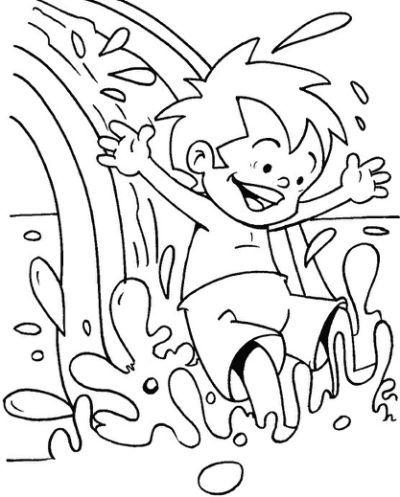 Water Slide At Water Park Coloring Summer Coloring Pages Coloring Pages Cool Coloring Pages