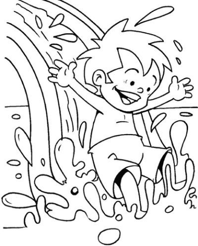 Water Slide At Water Park Coloring Summer Coloring Pages