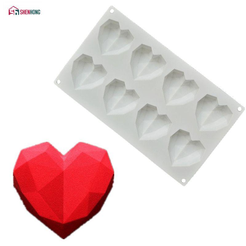 3D Diamond Love Heart Silicone Chocolate Cake Mold DIY Baking Decorating Tool