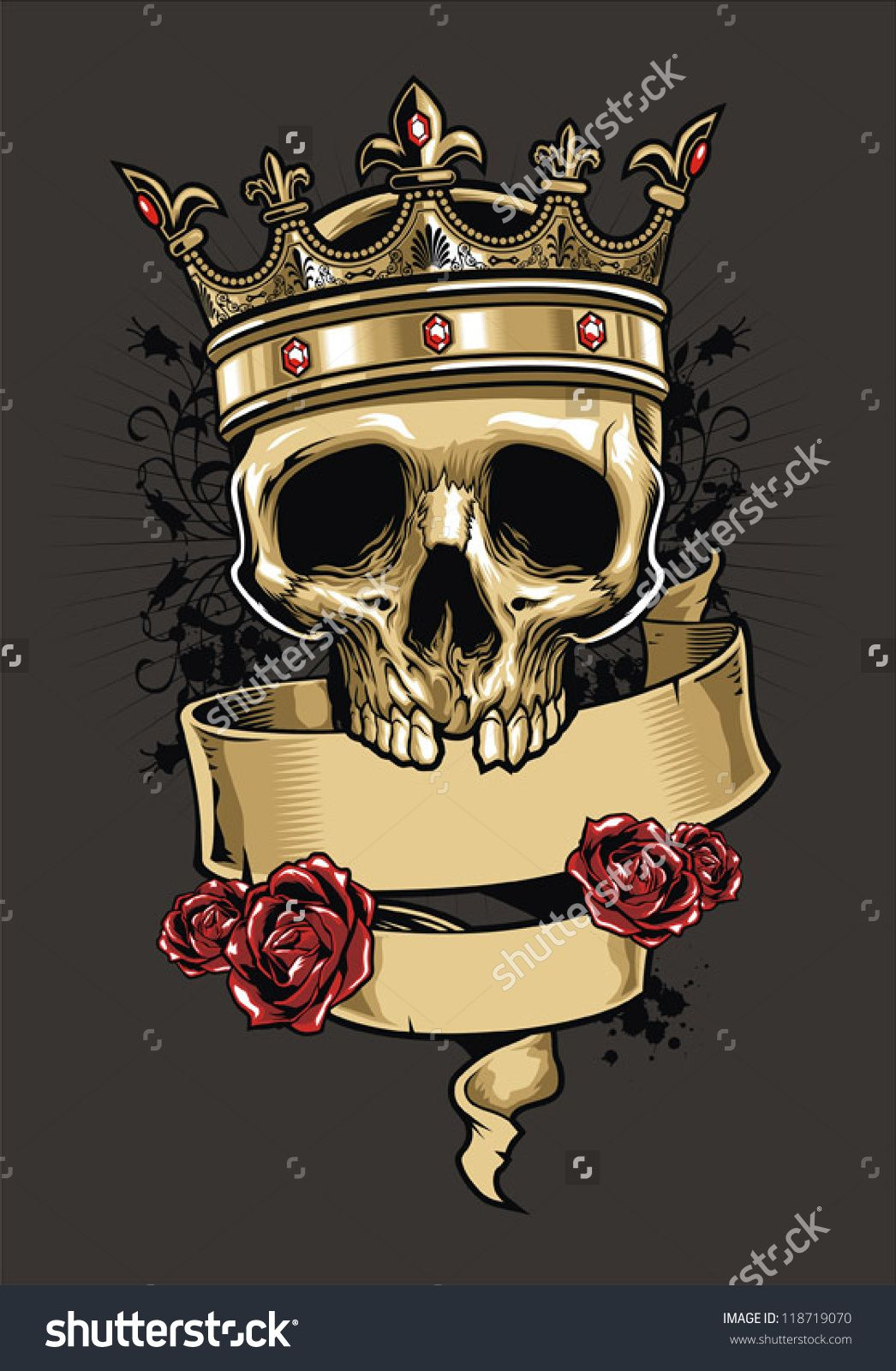 Vector Skull Wearing A King Crown - 118719070 : Shutterstock ...
