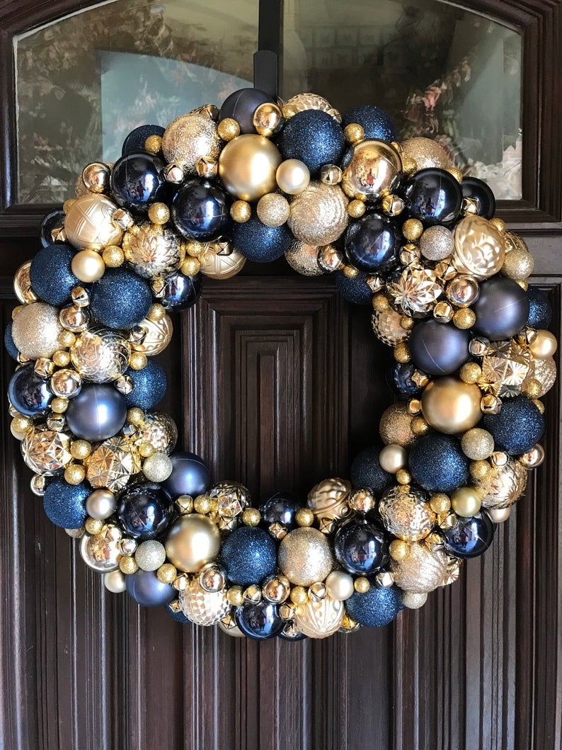 Gorgeous Navy And Gold Ornament Christmas Wreath Bauble Etsy Blue Christmas Decor Bauble Wreath Holiday Wreaths