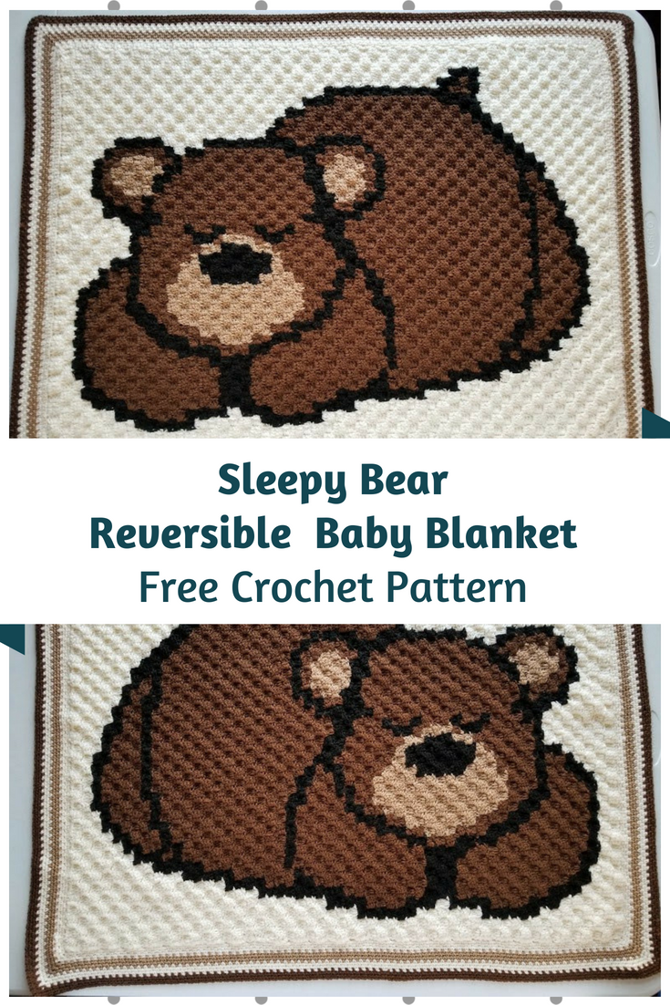 Sleepy Bear Reversible Baby Blanket Free Pattern | adult blankets ...
